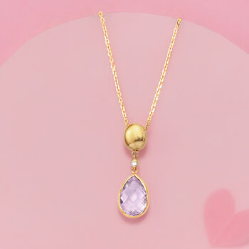 3.20 Carat Amethyst Pendant Necklace with Diamond Accent in 14kt Yellow Gold, , default