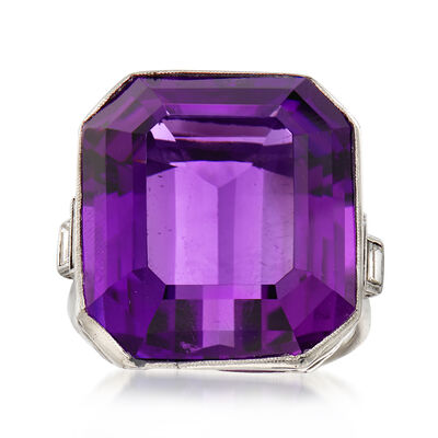 C. 1950 Vintage 31.00 Carat Amethyst and .50 ct. t.w. Diamond Ring in Platinum, , default