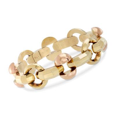 C. 1970 Vintage 14kt Two-Tone Gold Fancy Link Bracelet, , default