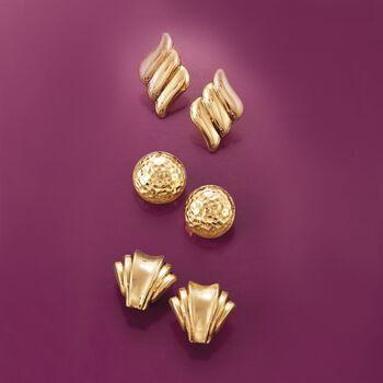 14kt Yellow Gold Fan Clip-On Earrings