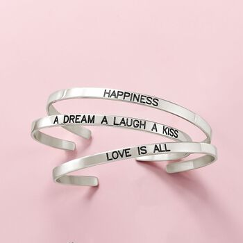Sterling Silver Jewelry Set: Three Inspirational Cuff Bangle Bracelets, , default