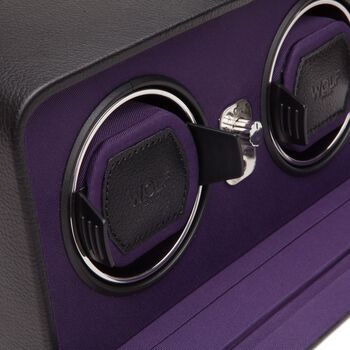 """""""Windsor"""" Black and Purple Double Watch Winder with Cover by Wolf Designs, , default"""