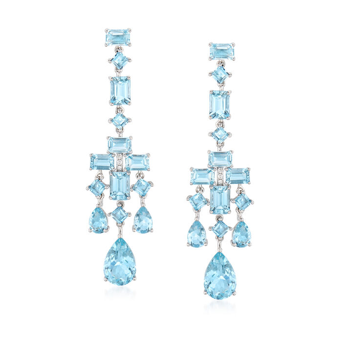 16.30 ct. t.w. Aquamarine Drop Earrings in 14kt White Gold with Diamond Accents, , default