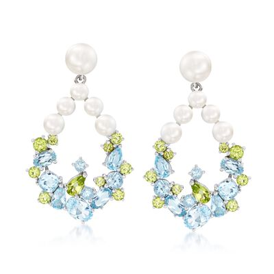 3.5-6.5mm Cultured Pearl and 4.00 ct. t.w. Sky Blue Topaz Earrings with Peridot in Sterling Silver, , default