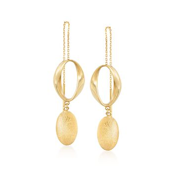 Italian 14kt Yellow Gold Oval Threader Earrings, , default