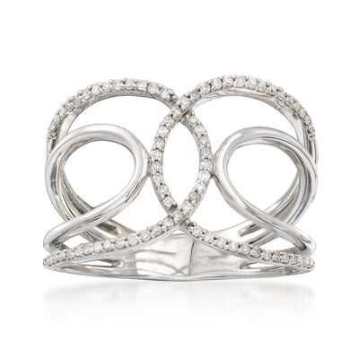 .20 ct. t.w. Diamond Intertwining  Loop Ring in 14kt White Gold, , default