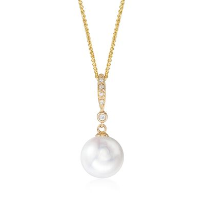 9-10mm Cultured Pearl Pendant Necklace with Diamond Accents in 14kt Yellow Gold, , default