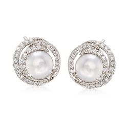 7.5-8mm Cultured Pearl and .50 ct. t.w. CZ Swirl Earrings in Sterling Silver, , default