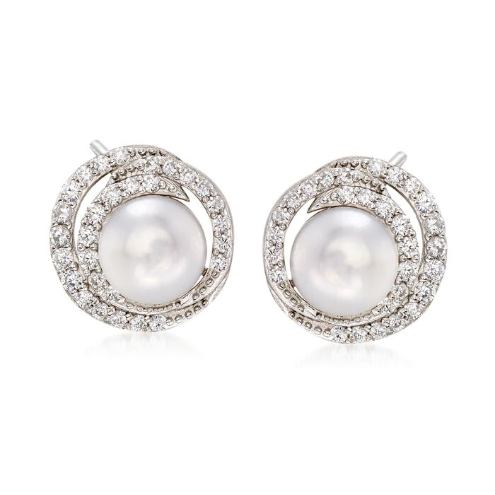 7.5-8mm Cultured Pearl and .50 ct. t.w. CZ Swirl Earrings in Sterling Silver , , default
