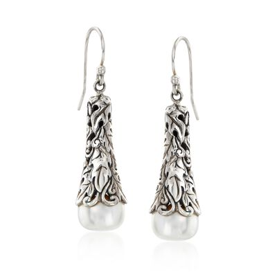 9.5-10mm Cultured Pearl Drop Earring in Sterling Silver