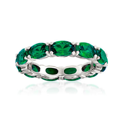5.00 ct. t.w. Simulated Emerald Eternity Ring in Sterling Silver, , default