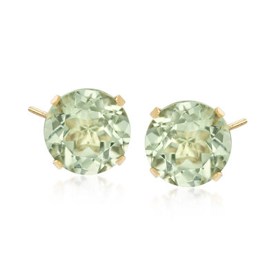 7.70 ct. t.w. Green Prasiolite Stud Earrings in 14kt Yellow Gold