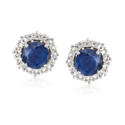 3.30 ct. t.w. Sapphire and 1.60 ct. t.w. White Zircon Jewelry Set: Earrings and Earring Jackets in Sterling Silver, , default