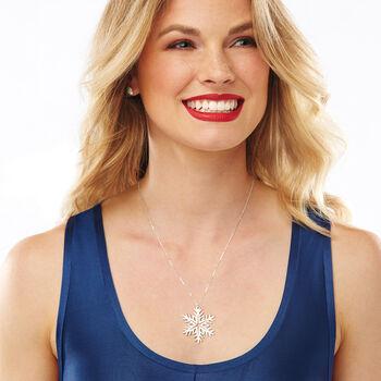 Sterling Silver Large Snowflake Pendant Necklace, , default