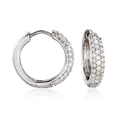 .34 ct. t.w. Diamond Huggie Hoop Earrings in Sterling Silver, , default