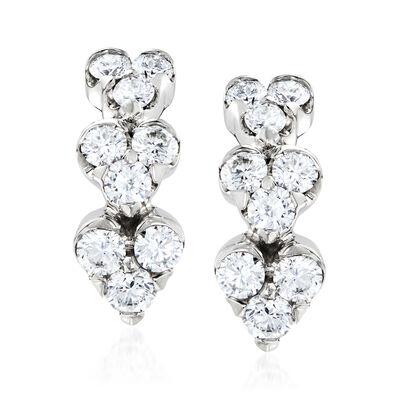C. 1990 Vintage 2.00 ct. t.w. Diamond Heart Drop Earrings in 18kt White Gold, , default