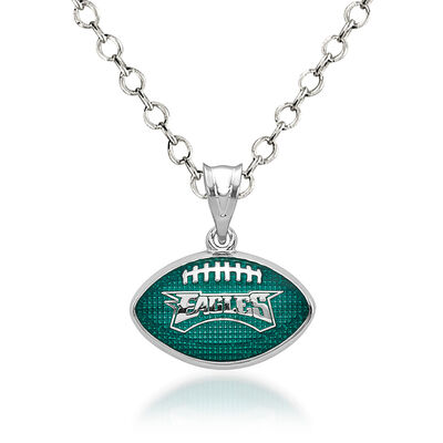 "Sterling Silver Philadelphia Eagles Enameled Football Pendant Necklace. 18"", , default"