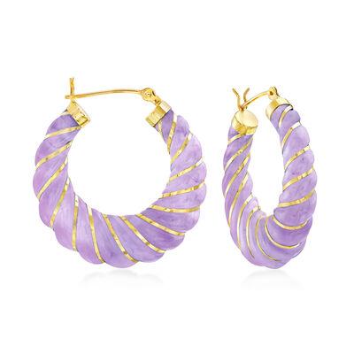 Lavender Jade Hoop Earrings in 14kt Yellow Gold