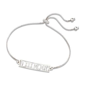 Sterling Silver Roman Numeral Date Bolo Bracelet, , default