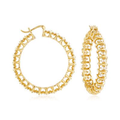 2.00 ct. t.w. Diamond Hoop Earrings in 18kt Gold Over Sterling, , default