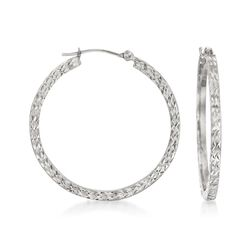 30mm 14kt White Gold Diamond-Cut Hoop Earrings , , default