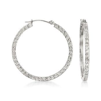 "30mm 14kt White Gold Diamond-Cut Hoop Earrings. 1 1/8"", , default"
