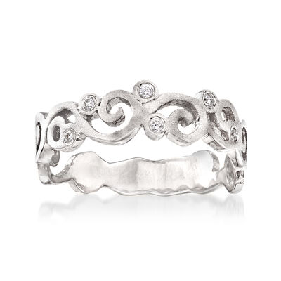 14kt White Gold Spiral Ring with Diamond Accents, , default