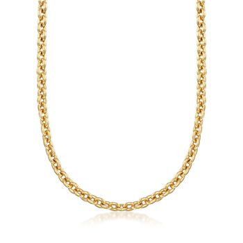 Italian Andiamo 5mm 14kt Yellow Gold Rounded Cable Chain Necklace, , default