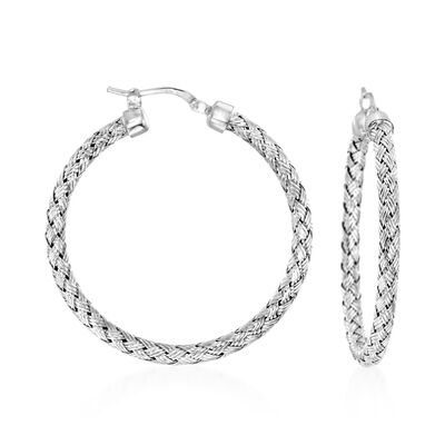 "Charles Garnier ""Milan"" Sterling Silver Medium Hoop Earrings, , default"