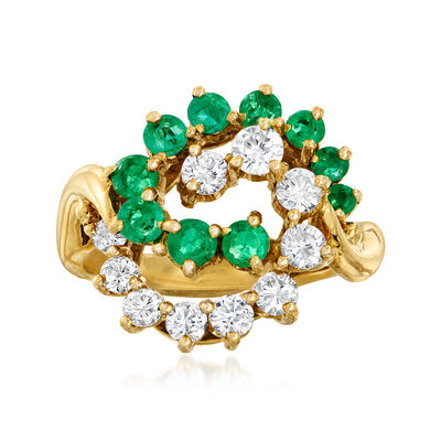 C. 1980 Vintage 1.00 ct. t.w. Emerald and .85 ct. t.w. Diamond Swirl Ring in 18kt Yellow Gold, , default