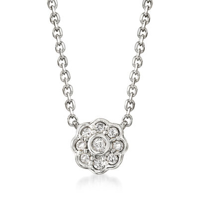 .10 ct. t.w. Diamond Flower Necklace in Sterling Silver