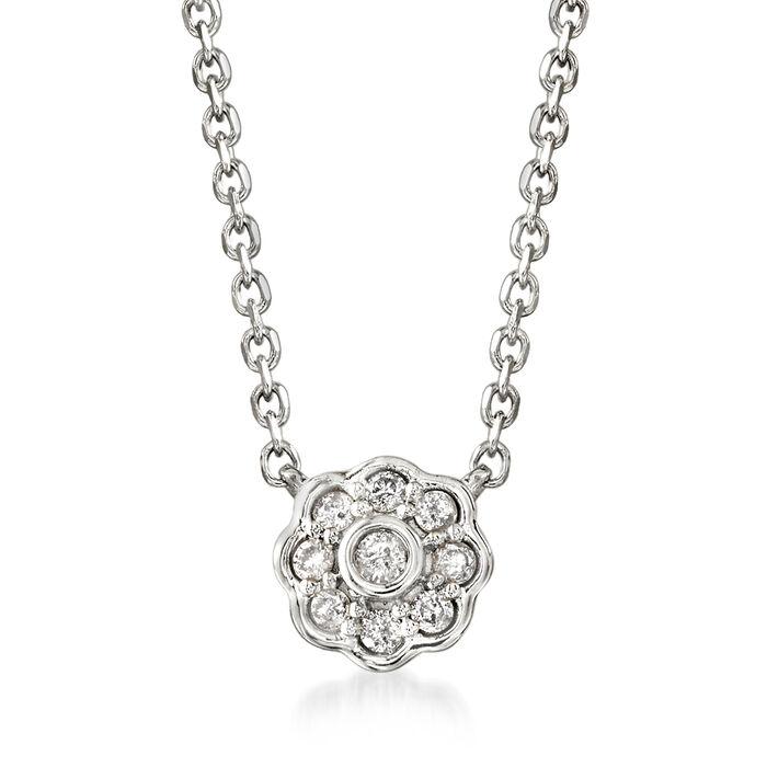 .10 ct. t.w. Diamond Flower Necklace in Sterling Silver