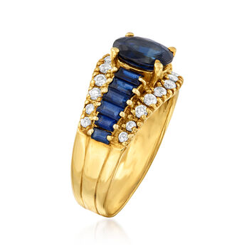 C. 1980 Vintage 2.50 ct. t.w. Sapphire and .50 ct. t.w. Diamond Ring in 14kt Yellow Gold. Size 7.5, , default