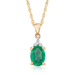 .85 Carat Emerald Pendant Necklace With Diamond Accents in 14kt Yellow Gold, , default