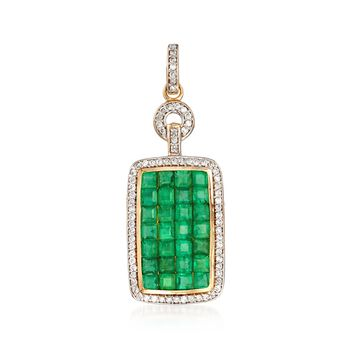 2.20 ct. t.w. Emerald and .38 ct. t.w. Diamond Frame Pendant in 14kt Yellow Gold, , default