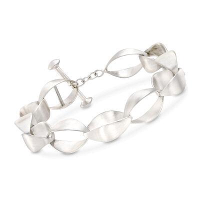 """Zina Sterling Silver """"Contemporary"""" Large Silken-Link Bracelet, , default"""