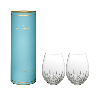 "Waterford Crystal ""Giftology"" Set of Two Lismore Nouveau Red Wine Stemless Crystal Glasses, , default"