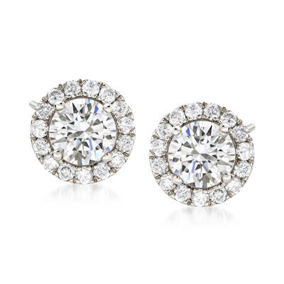2.00 ct. t.w. Diamond Halo Earrings in 14kt White Gold