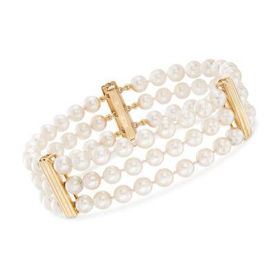 C. 1970 Vintage Multi-Strand Cultured Pearl Bracelet in 14kt Yellow Gold, , default