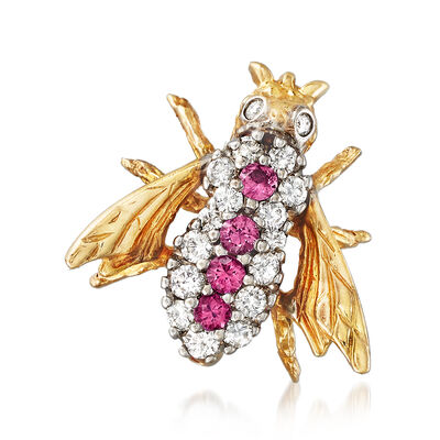 C. 1980 Vintage .45 ct. t.w. Diamond and .35 ct. t.w. Ruby Bee Pin in 14kt Yellow Gold, , default