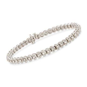 """2.30 ct. t.w. Diamond Halo-Style Bracelet in Sterling Silver. 8"""", , default"""