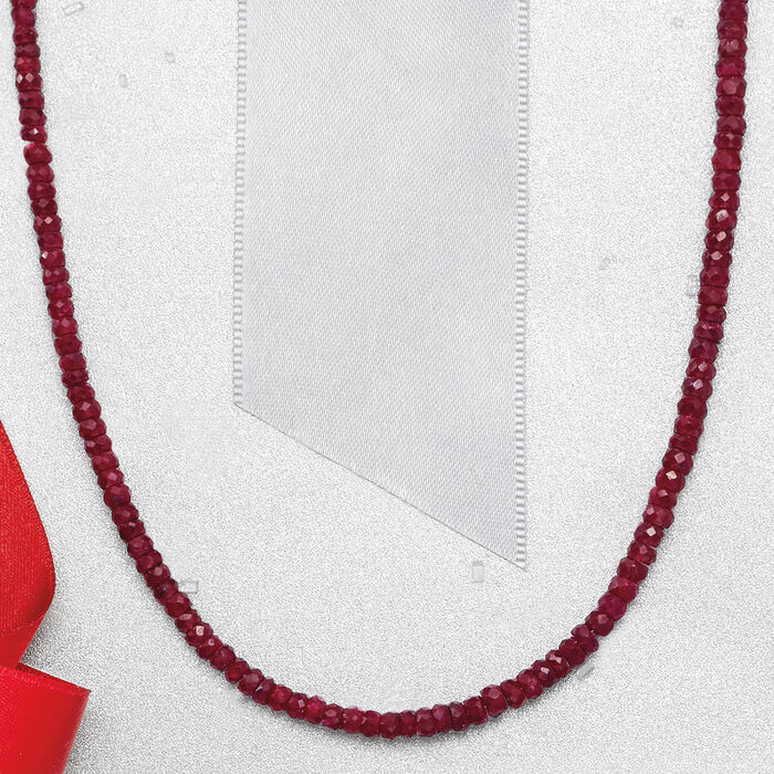 50.00 ct. t.w. Ruby Bead Necklace in 14kt Yellow Gold