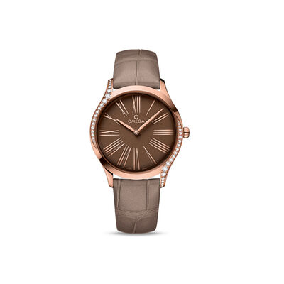 Omega De Ville Tresor Women's 36mm 18kt Rose Gold Watch with Diamonds and Brown Crocodile Leather