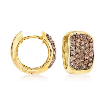 1.00 ct. t.w. Brown Diamond Huggie Hoop Earrings in 14kt Yellow Gold