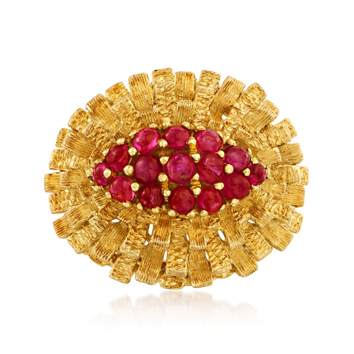 C. 1970 Vintage 1.30 ct. t.w. Ruby Textured Cluster Ring in 18kt Yellow Gold