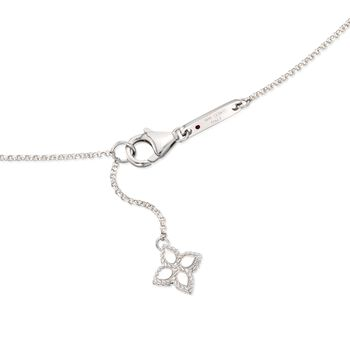 "Roberto Coin ""Princess"" .17 ct. t.w. Diamond Station Necklace in 18kt White Gold. 34"", , default"