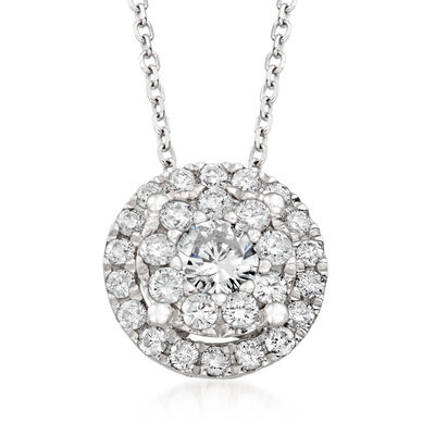 .50 ct. t.w. Diamond Illusion Halo Pendant Necklace in 14kt White Gold, , default