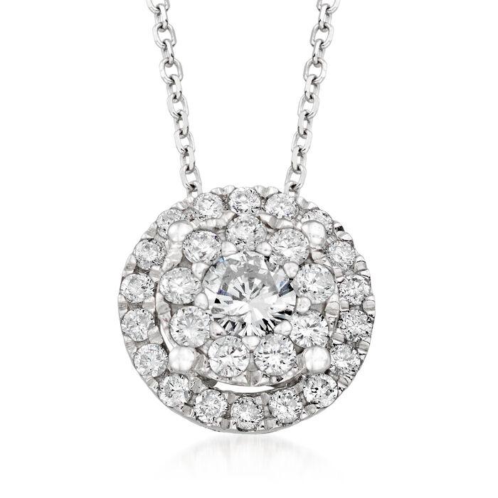 ".50 ct. t.w. Diamond Illusion Halo Pendant Necklace in 14kt White Gold. 18"""