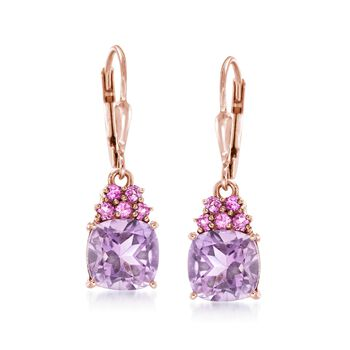 3.60 ct. t.w. Pink Amethyst and .40 ct. t.w. Rhodolite Garnet Drop Earrings in 18kt Rose Gold Over Sterling, , default