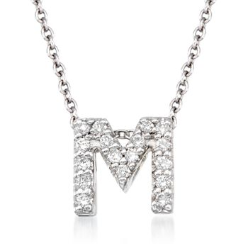 """Roberto Coin """"Tiny Treasures"""" Diamond Accent Initial """"M"""" Necklace in 18kt White Gold. 16"""", , default"""
